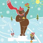 Brown bear champion on pedestal.Wnners Awarding. Winter sports — Stock Vector