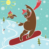 Brown bear jumps on snowboard.Humorous illustration — Stock Vector