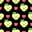 Wektor stockowy : Heart of apples in seamless pattern on hearts background