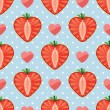 Heart of strawberry berries and hearts in seamless pattern — 图库矢量图片