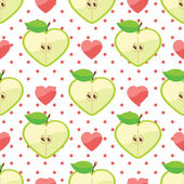 Heart of apples,hearts and polka dot in seamless pattern — Stock Vector