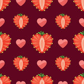 Heart of strawberry and hearts in seamless pattern — Stock Vector