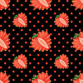 Heart of strawberry berries and polka dot in seamless pattern — Stock Vector