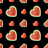 Watermelon and hearts on seamless pattern.Black background. — Stock Vector