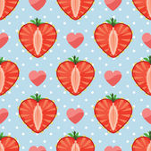 Heart of strawberry berries and hearts in seamless pattern — Stock Vector