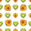 Seamless pattern of kiwi, persimmon in Heart — Stock Vector