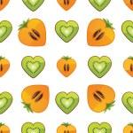 Seamless pattern of kiwi, persimmon in Heart — Stock Vector