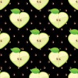 Heart of apples in seamless pattern on seeds background — Vecteur
