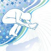 Mannen in kunstschaatsen vector silhouetten in beweging op ijs — Stockvector