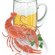 Stock Photo: Boiled cancer with mug of beer. Illustration