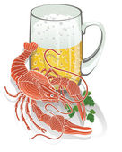 Boiled cancer with a mug of beer. Illustration — Stock Photo