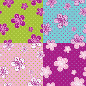Polka dot Cherry Flowers background.Spring Seamless pattern — Stock Vector
