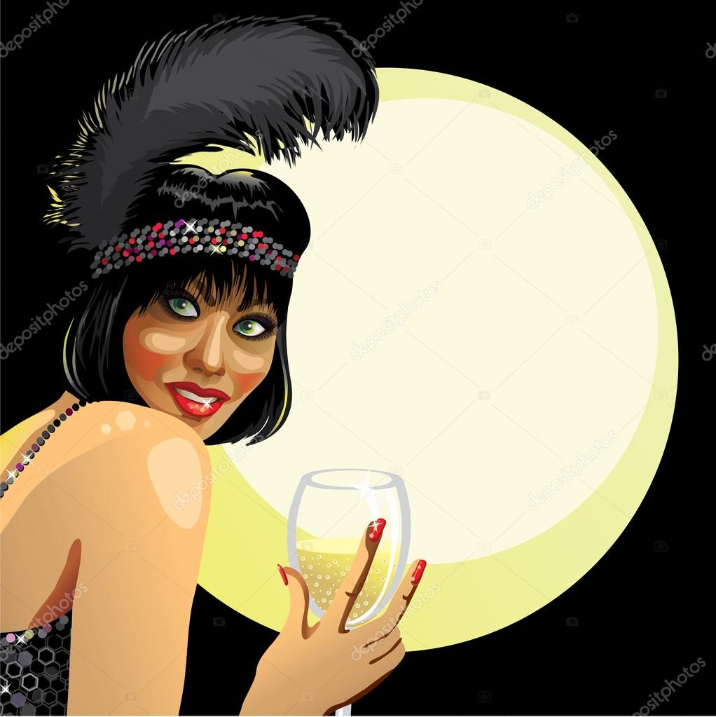 Amusing champagne glass vector photographs