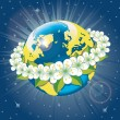 Stock Vector: Planet earth with wreath of spring flovers.View from space