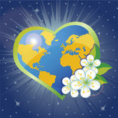 Planet earth in the heartsform with spring flovers — Stock Vector