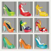 Colorful fashion women's High heel shoes in the wardrobe — Stock Vector