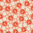 Heart of strawberry and flowers.Seamless pattern — Stock Vector