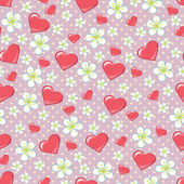 Cherry flowers polka dot and hearts in seamline pattern — Stock Vector