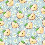 Heart of apples, Apple flowers,polka dot.Seamless pattern — Stock Vector