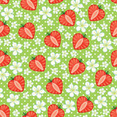 Heart of strawberry and flowers,polka dot in Seamless pattern — Stock Vector