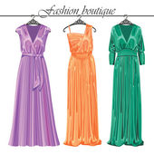 Three long silk party dresses on a hanger.Fashion boutique — Stock Vector
