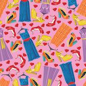 Multicolor modieuze jurken, open shoes,hearts.seamless patroon — Stockvector