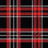 Black,red and white tartan seamless vector pattern — Stock Vector