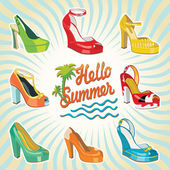 Colorful fashion women's High heel shoes.Hello summer — Stock Vector
