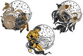Capricorn,Aquarius,Pisces and the zodiac sign.Horoscope — Vettoriale Stock