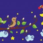 Bird on a branch. Nighttime.Vector cartoon — Stockvektor