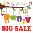 Baby born clothes hanging on the tree.Big sale — 图库矢量图片