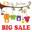 Baby born clothes hanging on the tree.Big sale — Stock Vector #43023755