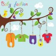 Baby born clothes hanging on the tree.Gartoon baby fashion — Stock Vector