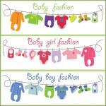 Cute cartoon baby set. Baby fashion — Stock Vector