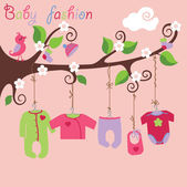 Baby born clothes hanging on the tree.Baby girl fashion — Stock Vector