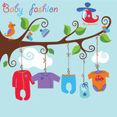 Baby born clothes hanging on the tree.Baby boy fashion — Stock Vector