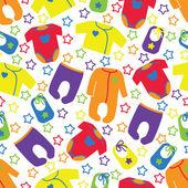 Kolorowe ubrania dla noworodka wzór z gwiazd. — Wektor stockowy