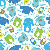 Clothes for newborn baby boy seamless pattern.Baby boy — Stock Vector