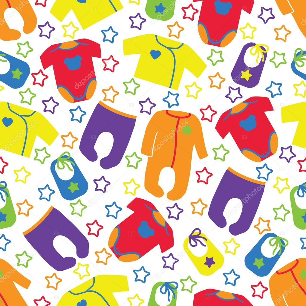 Colorful clothes for newborn baby seamless pattern with ...