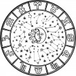 Horoskop-circle.zodiac-sign.black und weiß — Stockvektor  #43096133