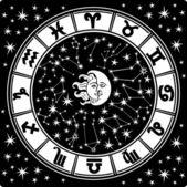 Horoskop circle.zodiac sign.black i biały — Wektor stockowy