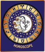 All zodiac sign in Horoscope circle.Sun and Moon.Retro — Stock Vector