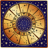 Horoscope circle.Zodiac sign and constellations.Retro — Stock Vector