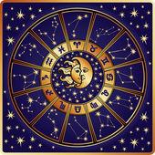 黄道十二宫标志和 constellations.horoscope circle.retro — 图库矢量图片