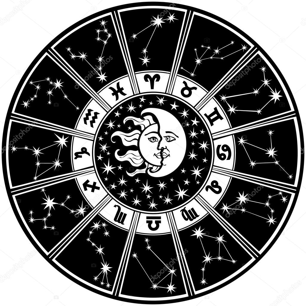zodiac sign and constellations horoscope circle black and white stock vector tatiana kost. Black Bedroom Furniture Sets. Home Design Ideas