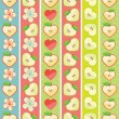 Set of seamless boarders of Apple,hearts and flowers — Stock Vector #43156795