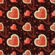Watermelon, hearts and Paisley in seamless pattern — 图库矢量图片