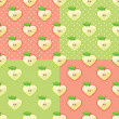Heart of apples in seamless pattern with polka dot background — Stock Vector #43156833