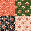 Halves watermelon and Paisley ornament.Seamless pattern set — 图库矢量图片
