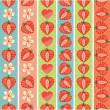 Set of seamless boarders of Strawberry,hearts and flowers — Stock Vector